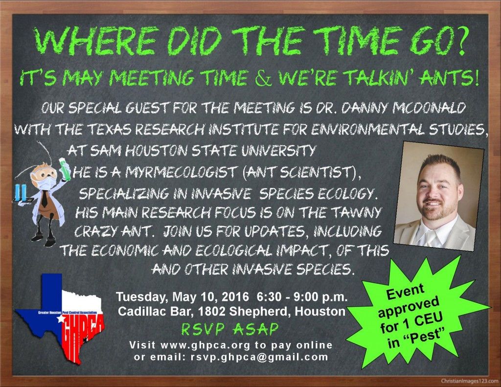 GHPCA May 10 Meeting - Tawny Crazy Ants & Invasive Species