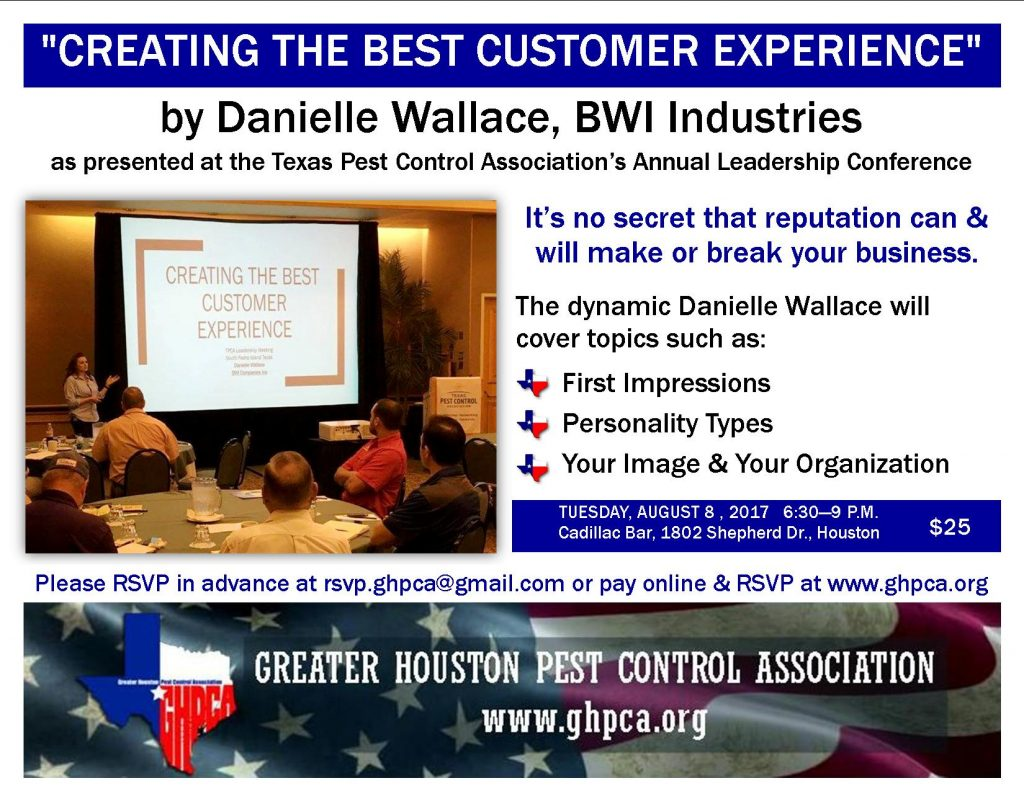 Danielle Wallace presents, Creating the Best Customer Experience. GHPCA Aug 8, 2017 meeting