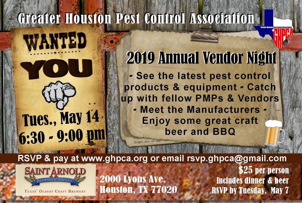 2019 GHPCA Vendor Night Invitation