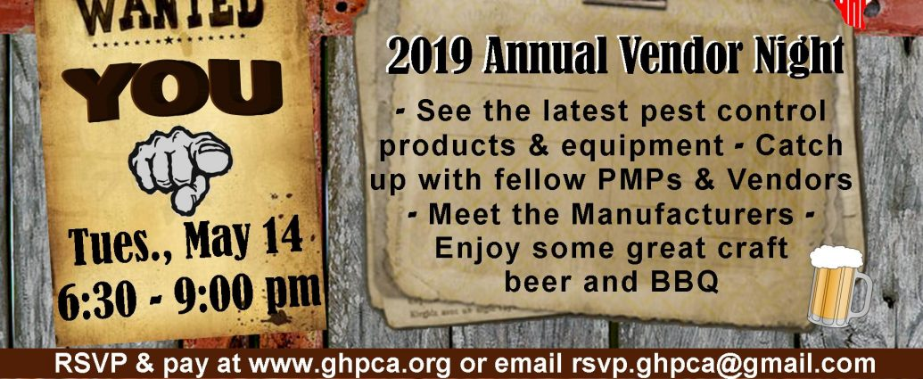 2019 GHPCA Vendor Night Invitation