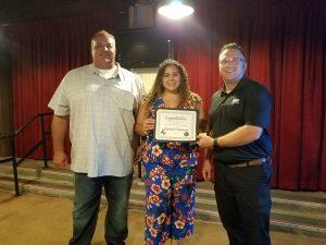 Scholarship Recipient Daniela Casanova (ctr) Joseph Casanova (Daniela's father lft), Del Lawson, GHPCA President (rt)